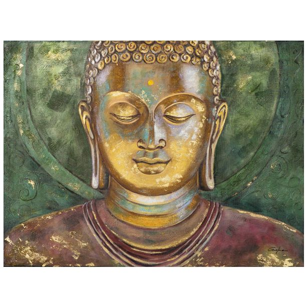 Tableau bouddha tons dores verts rouges argentes sur fond tons verts et dores 120x90cm